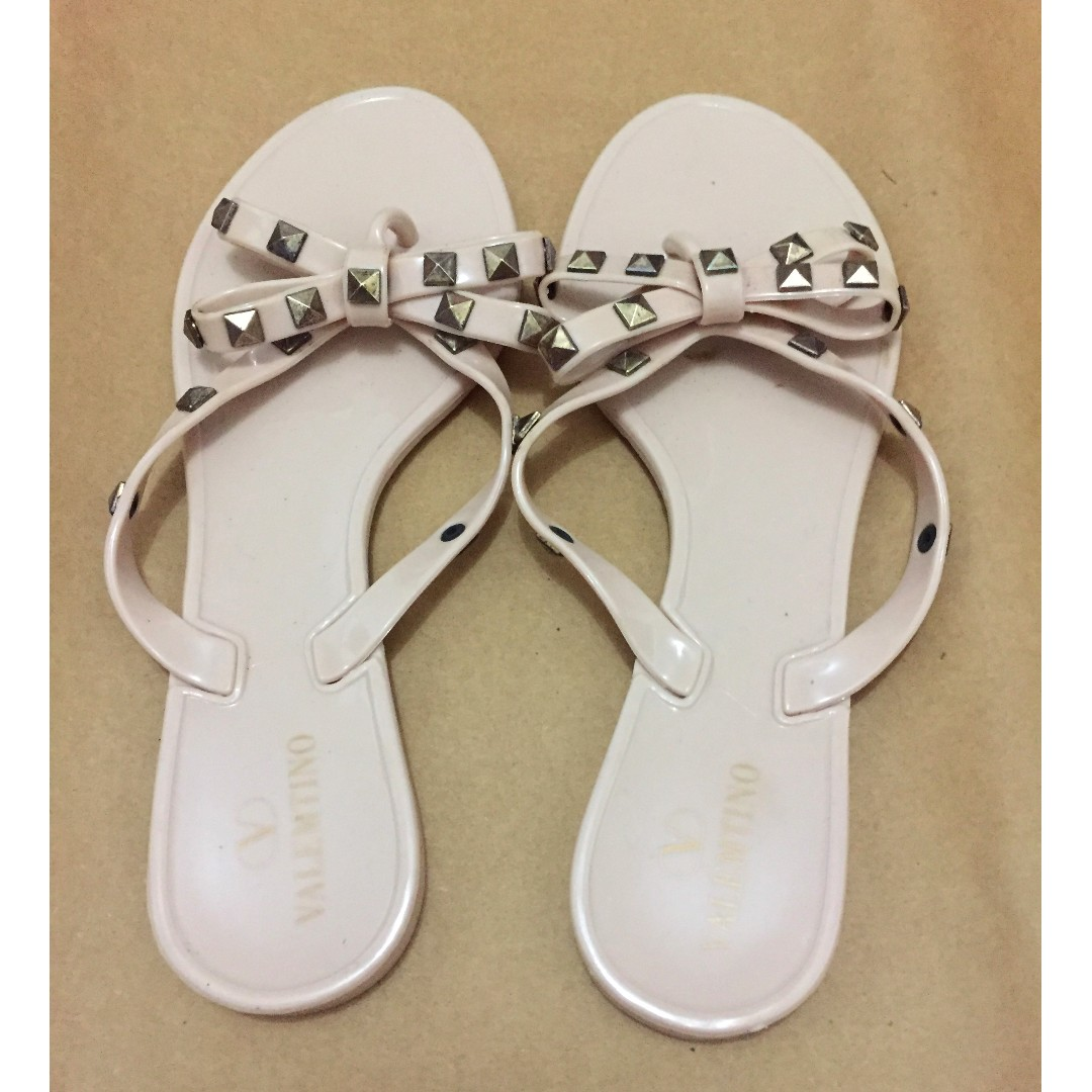 Nude studded jelly slip-on sandals