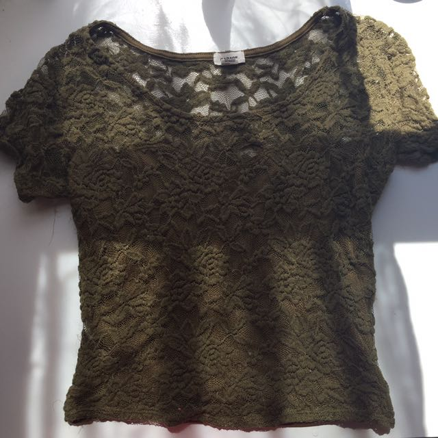 Olive Green Lace Shirt!