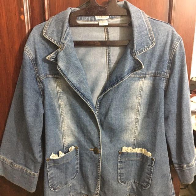 PANELI Lace Denim Jacket Size L
