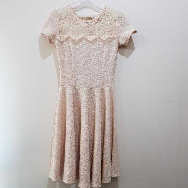 Paperdolls PD & CO. | Elegant Cream Lace Fit And Flare Textured Dress