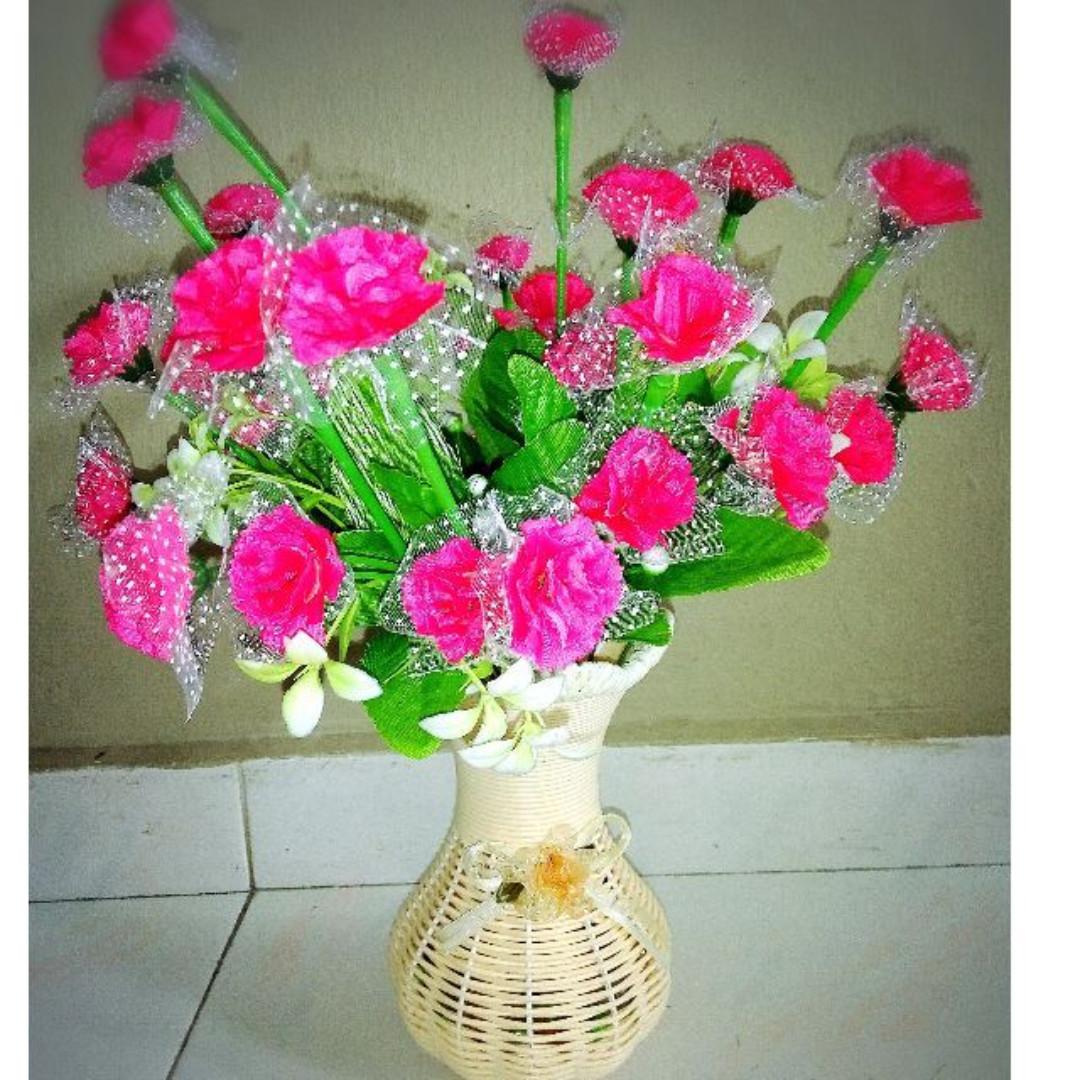 Pink Carnation Flower Bouquet In A Vase Design Craft Handmade