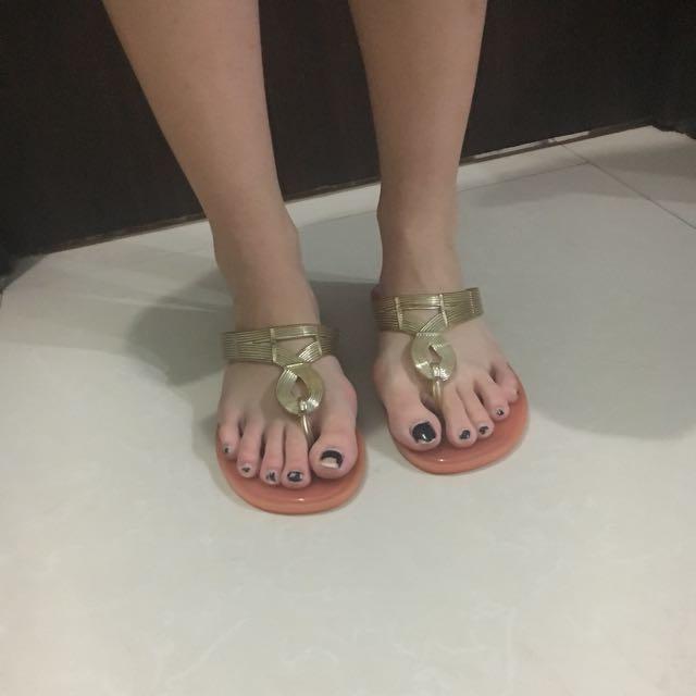 Pink Gold rubber Flats