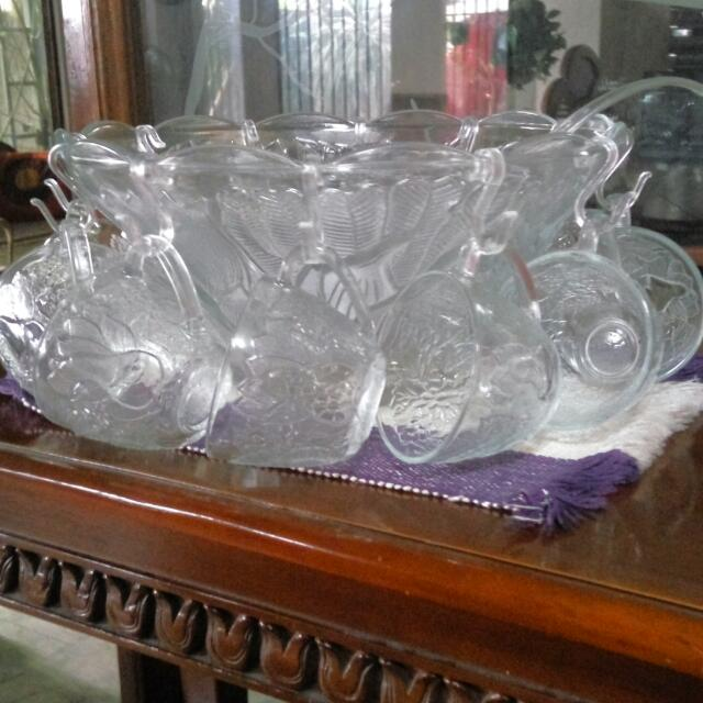 REPRICED Punch Bowl + Cups + Ladle