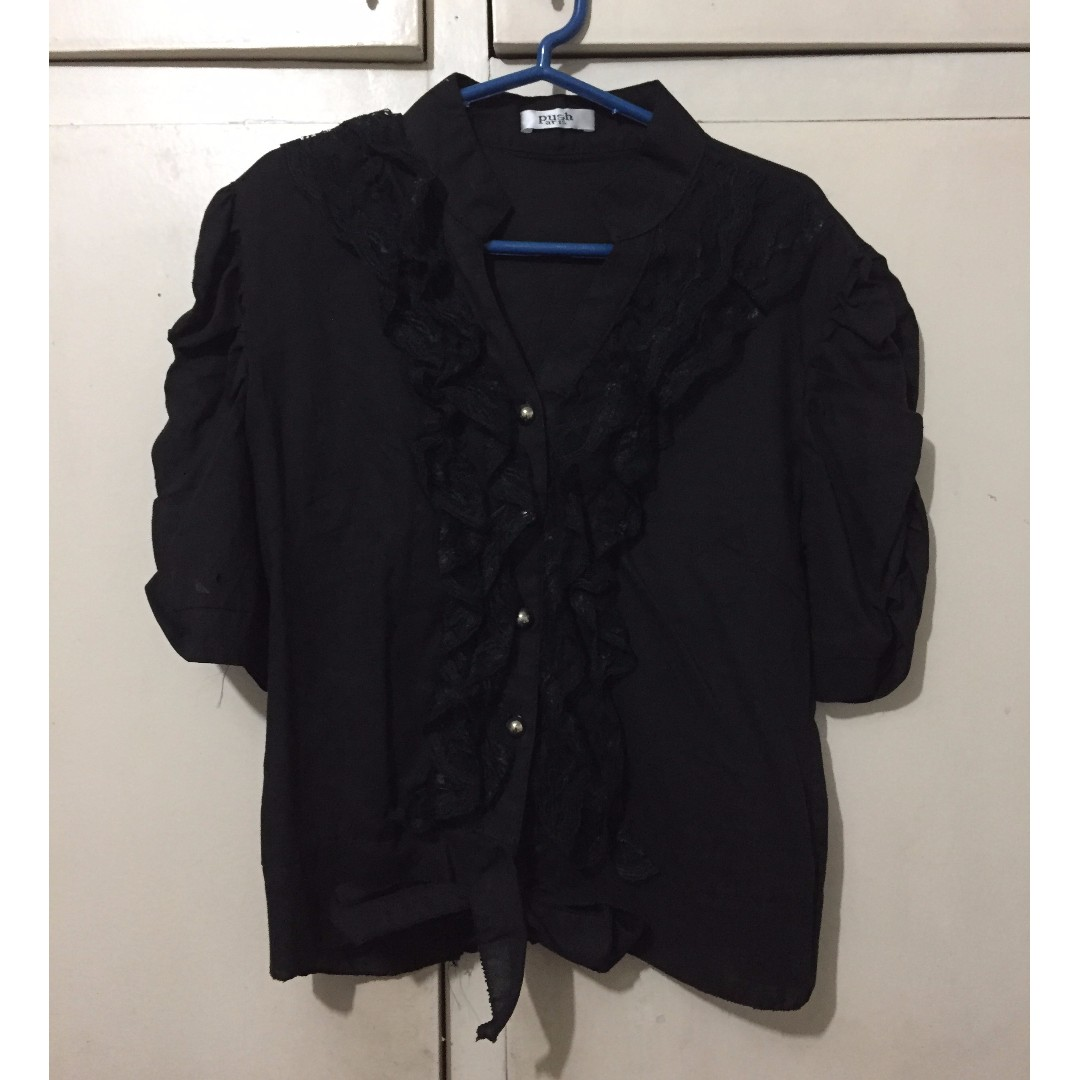 Ruffled black blouse