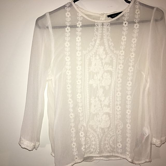Sheer Petite Embroidered Top