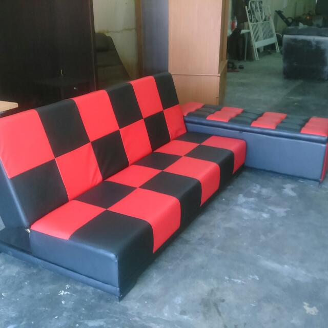 Sofa Merah Hitam 1set Home Furniture Furniture On Carousell