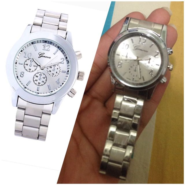 Stainless steel silver watch (jam tangan silver)