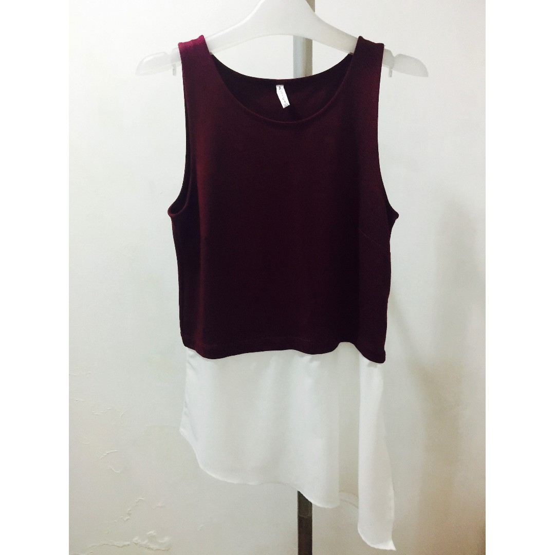Stradivarius Maroon Asymmetrical Top
