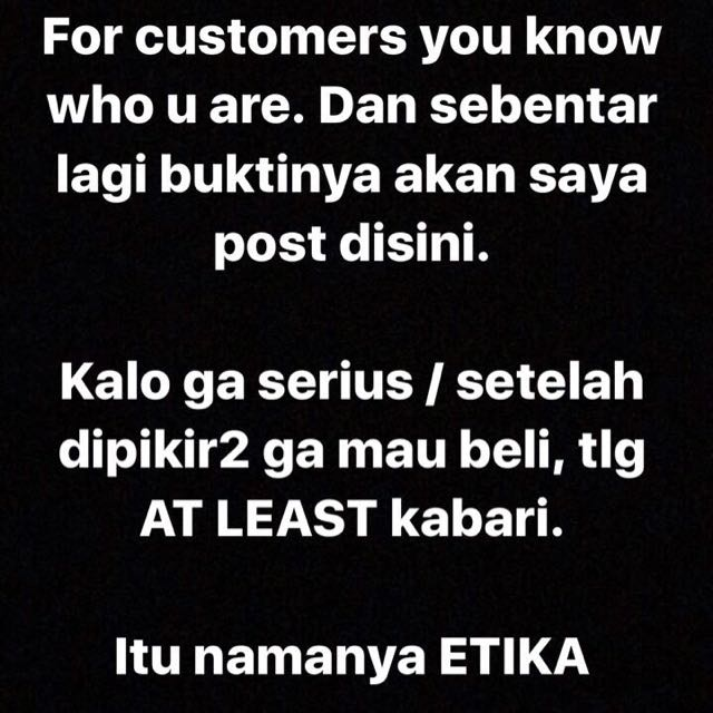 Tolong Dibaca Customer Yang Tidak Serius :)