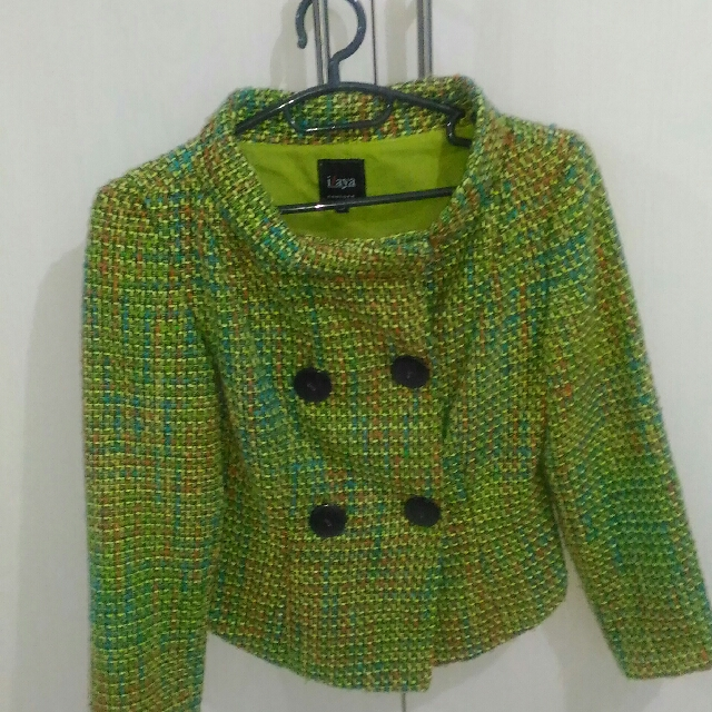 Tweed Double Breasted Green Jacket
