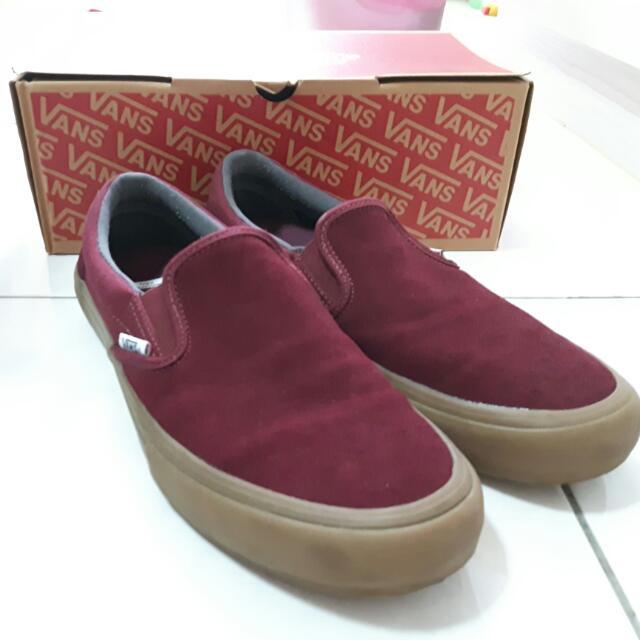 VANS 酒紅麂皮帆布鞋