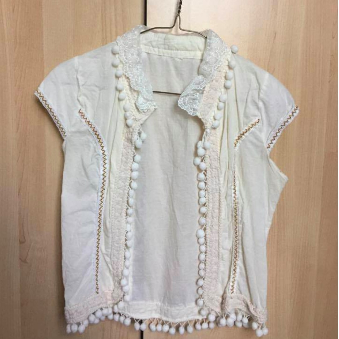 White pompom blouse -No size
