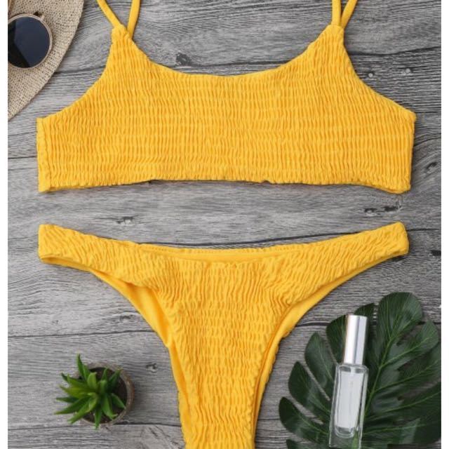 Yellow Smocked Bikini