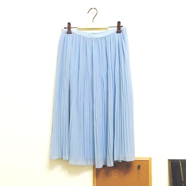 ZARA水藍雪紡紗百褶裙