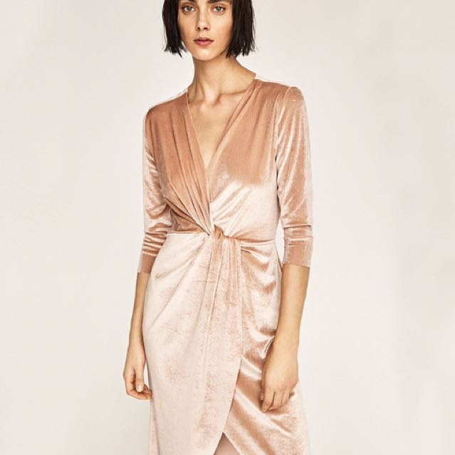 9685b012 Zara Crossover Velvet Dress In Nude, Women's Fashion, Clothes, Dresses &  Skirts on Carousell