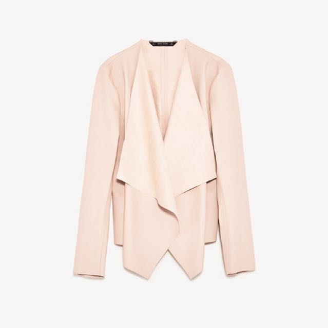 Zara Faux Leather Jacket XS in PASTEL PINK