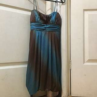Blue Coctail Glittery Dress For Party