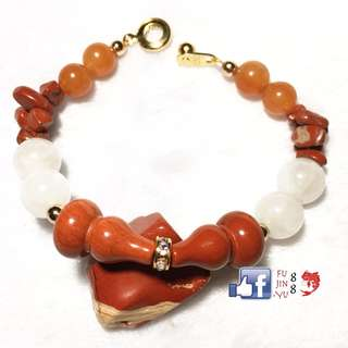 Red Jasper Wu Lou Moonstone and Carnelian Fortune Bracelet For Health, Peace and Prosperity