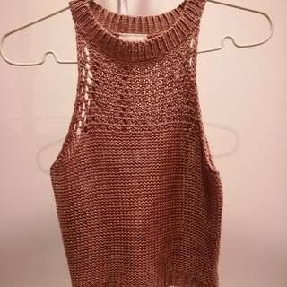 Pink Crochet Cropped Top