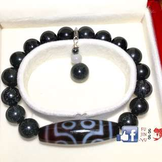 7-Eyed DZI with Rare Black Jade For Fame and Protection