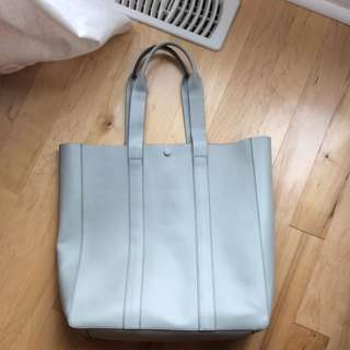 Grey Large Leather Gap Tote