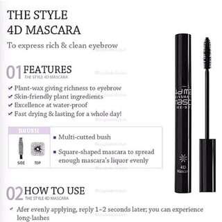 Missha 4D Mascara The Style (Eye Eyes Lash Lashes Eyelashes Volume Waterproof)