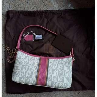 Bonia Pink Leather Trim Handbag