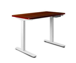 100CM Motorised Height Adjustable Sit Stand Desk Walnut