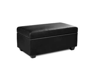 Faux Leather Storage Ottoman Large Black