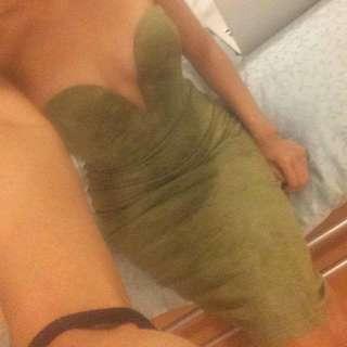 Babyboo Plunge Midi Dress - Khaki Suede