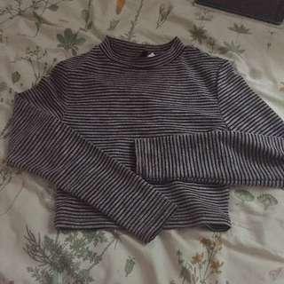 Striped Cropped Mockneck Long Sleeves