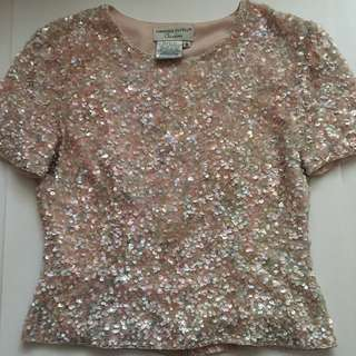 Pink Sequin Vintage Top