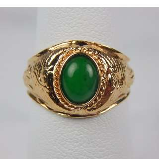 14K Yellow Gold Green Jade Ring 7.4 X 5MM 4.1 Grams Size 4.75 Face 8 X10MM