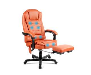 8-Point Massage Office Chair with Footrest Amber