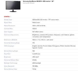 SAMSUNG LED MONITOR 20 INCH -  MODEL : BX2031