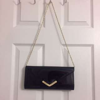 Aldo Patent Clutch With Gold Chain