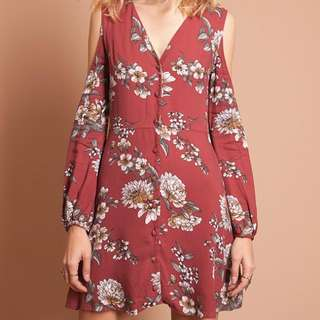 Threadsence Floral Cold Shoulder Dress