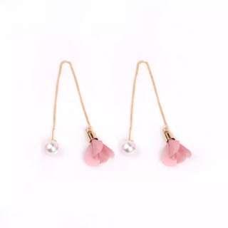 Pink Petal Pearl Drop Dangling Earring