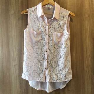 Suiteblanco Pink Lace Top