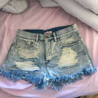High Waisted Denim Ripped Shorts