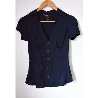 Mango Blue Plunging Polo Top