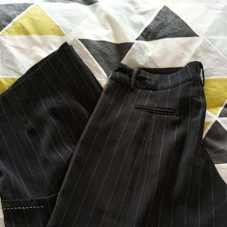 Black 3/4 Wide Leg Dress Trousers