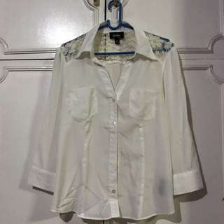 White Long Sleeve Blouse With Lace Details at The Back
