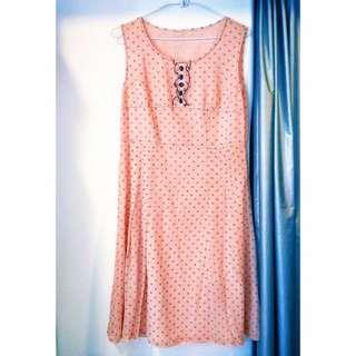 🚚 全新#粉紅點點無袖雪紡洋裝