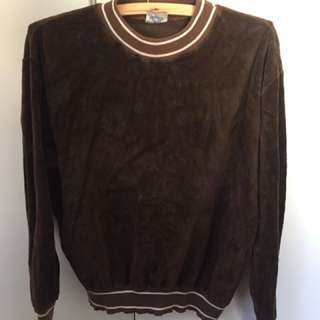 Vintage Retro 1960s Brown Velour Jumper