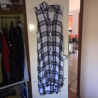 Maxi Flannelette Dress With Leg Slits