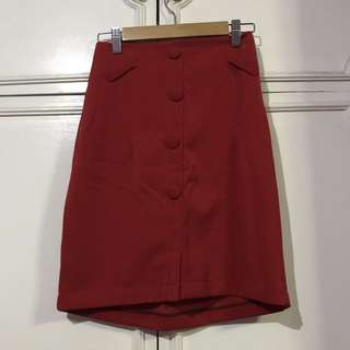 Red Button Down Style Skirt