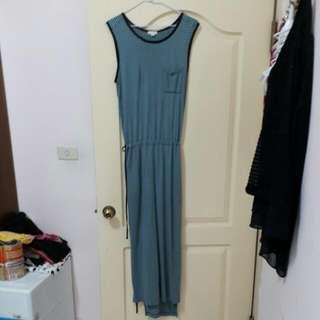 GAP 女裝 側邊抽繩柔軟長洋裝