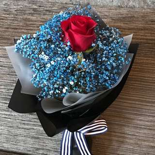 Single Red Rose And Blue Baby Breath Hand Bouquet