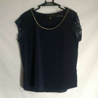 Dark Blue Plains & Prints Blouse With Lace Sleeves